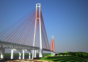 Мост на остров Русский (эскиз)
