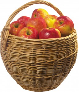 Лукошко с яблоками