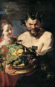 """Рубенс  """"Сатир и служанка с корзиной фруктов"""" 1615 г."""