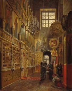 С. Шухвостов. Внутренний вид Алексеевской церкви Чудова монастыря в Московском Кремле. 1866 г.