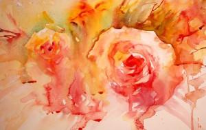 Jean Heines  Розы,  акварель