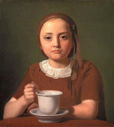 Девочка. Элизе Кёбке с чашкой (1850), датского художника Константина Хансена