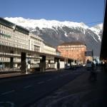 Вид на Альпы Тироля с улиц Инсбрука