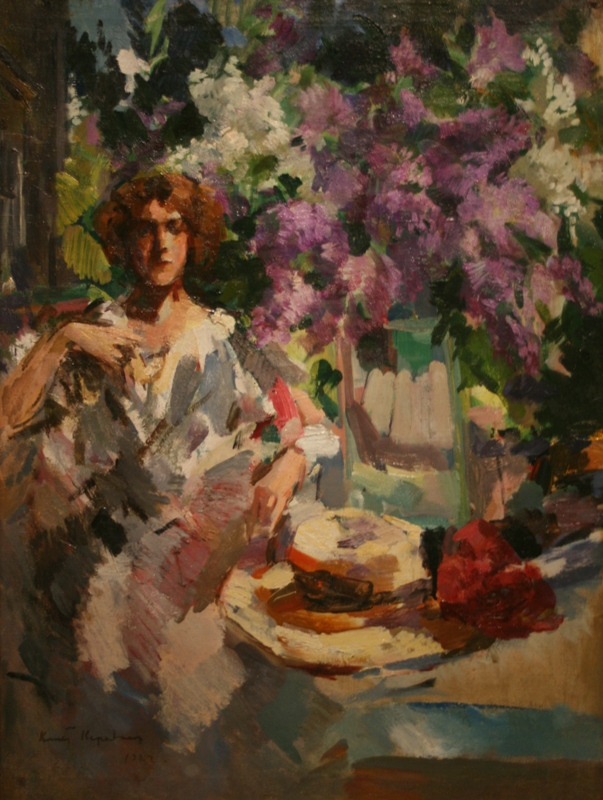 """Коровин """"женщина с букетом сирени"""" 1910 год"""