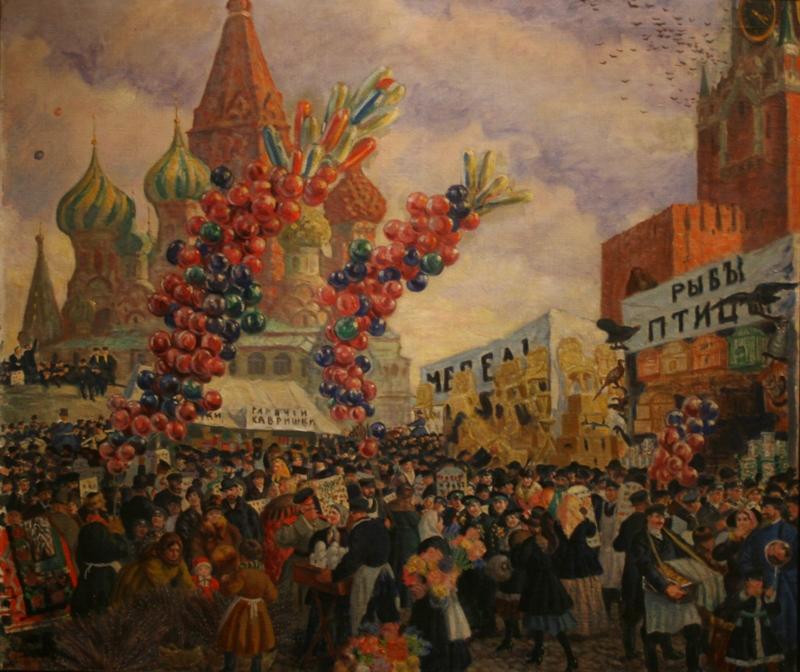 """Борис Кустодиев """"Вербное воскресенье на Красной площади"""" 1917 год"""