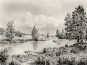 Пейзаж карандашом